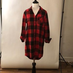 Red/black plaid flannel dress